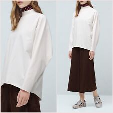 White Oversize Long Sleeve Sweartshirt Top Mango Size M UK 10 12 US 4 6 Zara ❤
