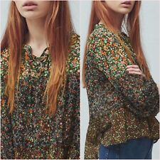 Green Floral Blouse Flowy Long Sleeve Top Mango Size 8 UK US 4 Zara❤