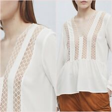 White Embroidered Blouse Long Sleeve Top Mango Size 8 10 12 14 US 4 6 8 10 Zara❤