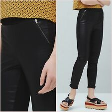 Black Faux Leather Skinny Trousers Leggings Mango Size S UK 8 US 4 Zara Blogger❤