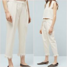 White Straight Relaxed Crop Frayed Hem Trousers Mango Size 12 US 8 Zara Blogger❤