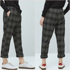 Black Check Drawstring Crop Trousers Mango Size UK 8 US 4 Zara ❤