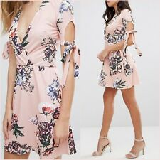 Tall Pink Floral Short Sleeves Dress Size 6 8 US 2 4 XS S OML @ Topshop Blogger❤