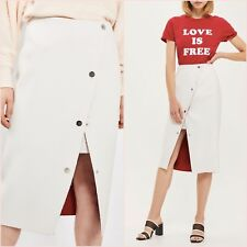 Topshop Limited White Wrap Slit Midi Skirt Size 14 UK US 10 Blogger ❤
