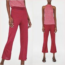 Zara Co-ords Pink Gingham Knit Halter Top Crop Flare Trousers S 8 US 4 Blogger❤