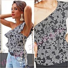Zara Grey Lace Floral One Shoulder Top Size XS S M 6 8 10 US 2 4 6 Blogger ❤