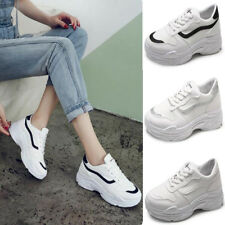 Womens Chunky Trainers Platform Thick Sole Sneakers Ladies Running Lace Up Shoes
