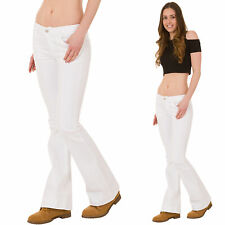 New Womens Ladies White Low Rise Hipster Stretch Denim Flared Bootcut Jeans