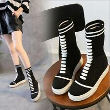 Fashion Women Sneakers High Top Ladies Sport Running Athletic Lace Up Sock Shoes