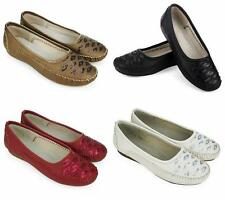 c5d6830b9fa New Ladies Womens Flat Casual Comfort Diamante Work Pumps Loafers Shoes UK  3 4 8
