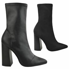 New Womens Ladies Chunky Block High Heel Sock Ankle Boots Pointed Toe Shoes Size