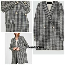 NEW ZARA SS18 CHECKED TEXTURED WEAVE COAT 2246/867 S ABRIGO ESTRUCTURA CUADRO