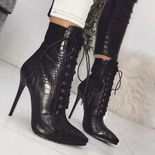 Sexy Womens Lace Up Booties Ladies High Heel Ankle Boots Pointed Stiletto Shoes