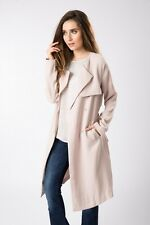 New A.M. London Pale Pink Crepe Belted Coat Sz UK 16