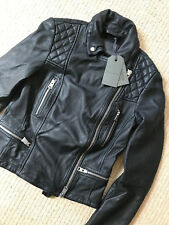 "ALL SAINTS WOMEN'S BLACK ""CATCH"" LEATHER BIKER JACKET COAT - UK 12 & 14 NEW TAGS"