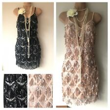 BNWT Sequin Tassel Embellished Flapper 20's Gatsby Party Dress 6 8 10 12 14