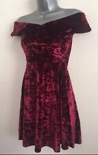 New EX Q*IZ Ruby Red Velvet Bardot OffShoulder Fit Flare Skater Party Dress 6-16