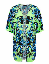 New M&S Collection Green & Blue Floral Kimono Top / Beach Cover Up Sz L UK 16-18