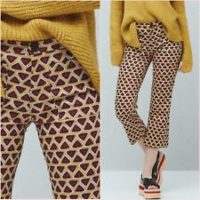 Yellow Printed Crop Slim Straight Trousers Mango Size 6 8 10 US 2 4 6 Zara❤
