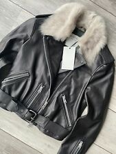 "ALL SAINTS BLACK ""GRIFT"" LIMITED ED LEATHER BIKER JACKET UK 8 10 12 14 NEW TAGS"