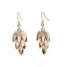 Rose Gold Leaf / Feather Layer Statement Necklace, Earrings