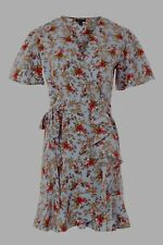 BNWT Topshop Blue Ditsy Floral Confetti Wrap Style Tea Dress - Size 10