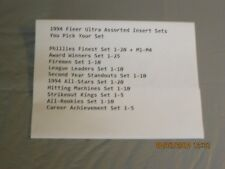 1994 Fleer Ultra 10 Assorted Insert Sets You Pick Your Sets