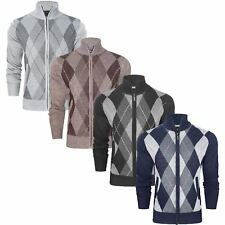 MENS ARGYLE KNITTED CARDIGAN DIAMOND ZIP NECK KNITWEAR SWEATER ZIP UP JUMPER TOP