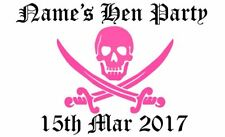 Personalised Skull And Crossbones Hen Party Iron On Fabric Heat Transfer TShirt