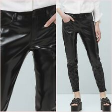 Black Faux Patent Leather Crop Slim Trousers Mango Size 12 UK US 8 Zara❤