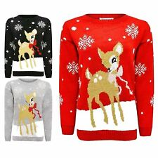 WOMENS LADIES CUT OUT COLD SHOULDER BAMBI DEER CHRISTMAS JUMPER DRESS XMAS TUNIC