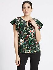 Per Una Floral Print Woven Front Top Size 10 RRP £25 - New tag missing