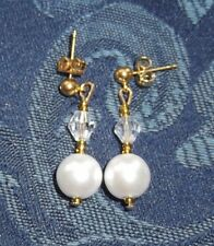 HANDCRAFTED PEARL & CRYSTAL DROP EARRINGS, WHITE,  IVORY, BRAND NEW, AUSTRALIA