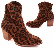 WOMENS FAUX SUEDE LEOPARD PULL ON CHELSEA COWBOY BLOCK HEEL ANKLE BOOTS SIZES