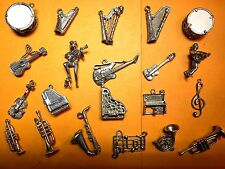 Vintage sterling silver charms MUSIC Piano Violin Saxo Guitar Harp Trumpet Drum