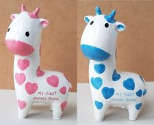 Giraffe My First Money Bank Pink Blue Ceramic Piggy Box New