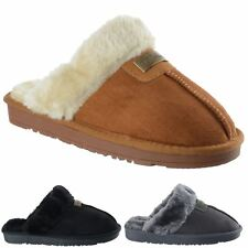 Womens Ladies New Boxed Faux Fur Slip On Warm Comfy Mules Slippers Shoes Size