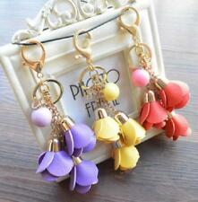 Trendy Bell Tulip Flower Type Key Chain Bag Purse Charm Ring Crystals Keychain