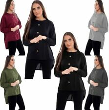 Womens Long Sleeve Front Button High Low Hem Batwing Top Ladies Party Wear Shirt