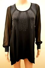 New M&S Collection Black Sequin Embellished Sheer Sleeve Tunic Top Sz UK 8