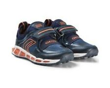 Geox J Shuttle Boys Trainers In Navy and Orange ( With Lights)