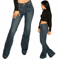 New Womens Dark Blue Faded Mid Rise Stretch Denim Flared Bootcut Jeans Long Leg