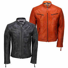 Mens Real Leather Jacket Retro Vintage Style Biker Smart Casual Slim Fit Bomber