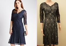 New M&S Classic Black or Navy Floral Lace Fit & Flare Dress Sz UK 10 12 14 16