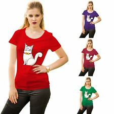 Funny Cat With Bow Print TShirt Womens Short Sleeve Cotton Tee Ladies Top Casual