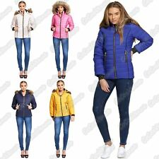 New Ladies Puffer Bubble Padded Faux Fur Hooded Quilted Jacket Thick Winter Coat
