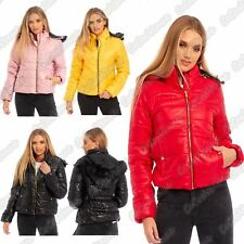 Ladies Fur Hooded Puffer Bubble Padded Quilted Zipper Shiny Winter Jacket Coat