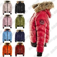 Ladies Padded Quilted Fur Hooded Shiny Badge Puffer Bomber Jacket Winter Coat