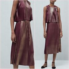 Co-ord Burgundy Metallic Pleated Top Midi Skirt Mango Size S 10 US Zara Blogger❤