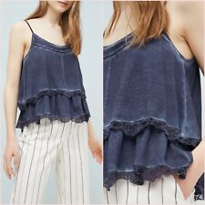 Blue Navy Indigo Denim Look Lace Cami Top Mango Size M 10 UK US 6 Zara Blogger ❤